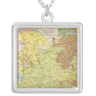 Volkerkarte von Russland - Map of Russia Silver Plated Necklace