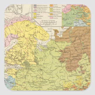 Volkerkarte von Russland - Map of Russia Square Sticker