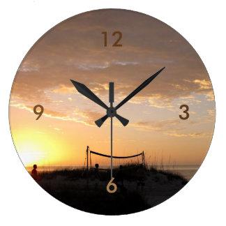 Volleball Beach Sunset Clock