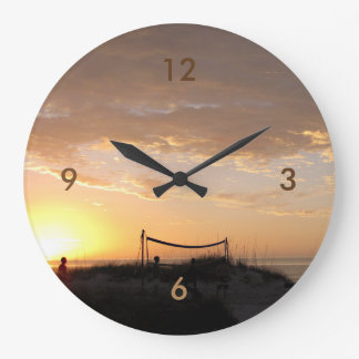 Volleball Beach Sunset Large Clock