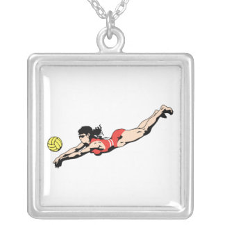 volley ball dive female volleyball player square pendant necklace