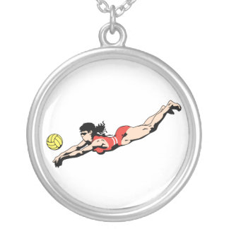 volley ball dive female volleyball player round pendant necklace