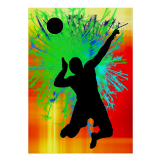 Volley Ball Service Fireworks Print