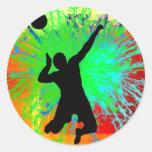 Volley Ball Service Fireworks Round Sticker