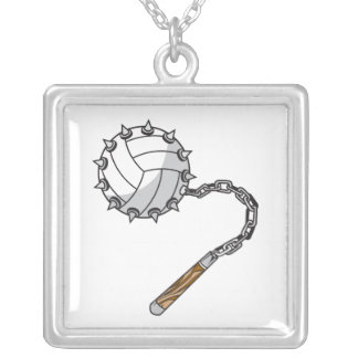 volley ball spikes mace graphic custom necklace