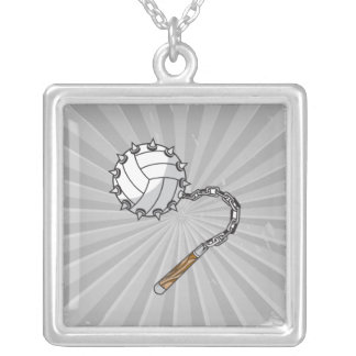 volley ball spikes mace graphic square pendant necklace