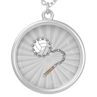 volley ball spikes mace graphic round pendant necklace