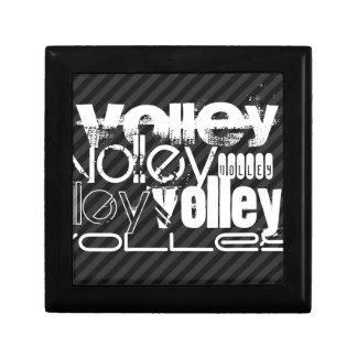 Volley; Black & Dark Gray Stripes Small Square Gift Box