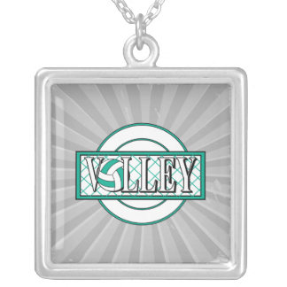 volley logo green personalized necklace