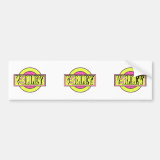 volley logo pink and yellow green bumper stickers