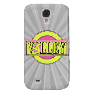 volley logo pink and yellow green galaxy s4 case