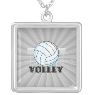 volley volleyball graphic and text square pendant necklace