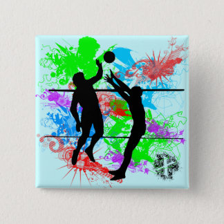 Volleyball 15 Cm Square Badge