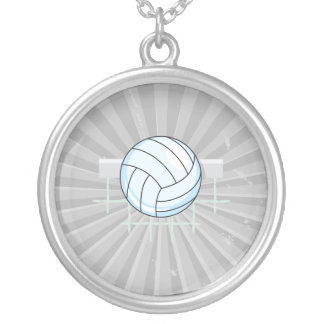 volleyball and net graphic round pendant necklace