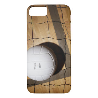 Volleyball and net on hardwood floor of iPhone 7 case