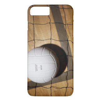 Volleyball and net on hardwood floor of iPhone 8 plus/7 plus case