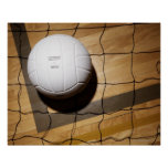 Volleyball and net on hardwood floor of poster