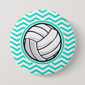 Volleyball; Aqua Green Chevron 7.5 Cm Round Badge