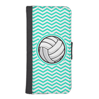 Volleyball; Aqua Green Chevron iPhone SE/5/5s Wallet Case