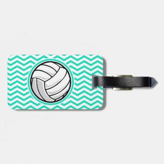 Volleyball; Aqua Green Chevron Luggage Tag