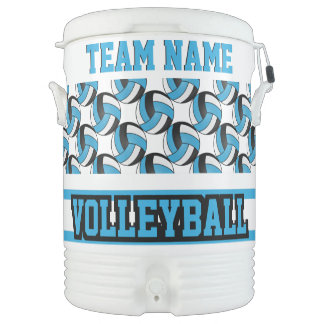 Volleyball   Baby Blue and White   DIY Text Cooler