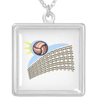 Volleyball Ball & Net Personalized Necklace