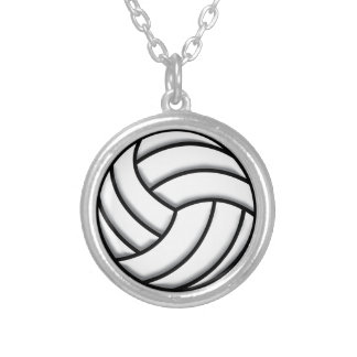 Volleyball Ball Silver Plated Necklace