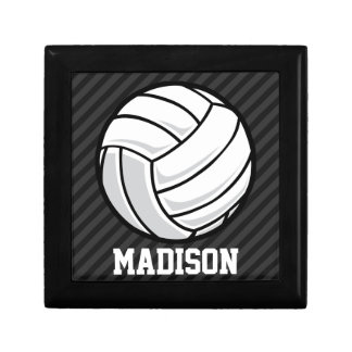 Volleyball; Black & Dark Gray Stripes Gift Boxes