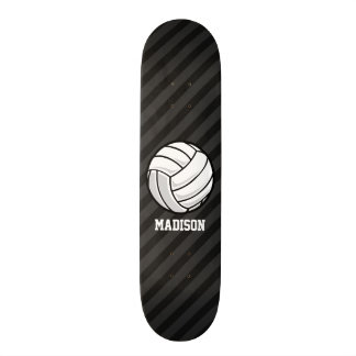 Volleyball; Black & Dark Gray Stripes Skateboard Deck