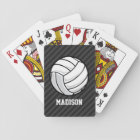 Volleyball; Black & Dark Grey Stripes Playing Cards
