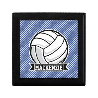 Volleyball, Blue & White Stripes, Sports Trinket Box