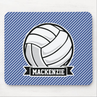 Volleyball, Blue & White Stripes, Sports Mouse Pad