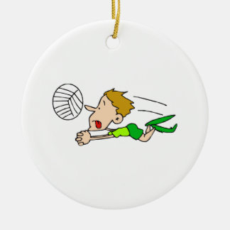 Volleyball boy dive christmas ornament