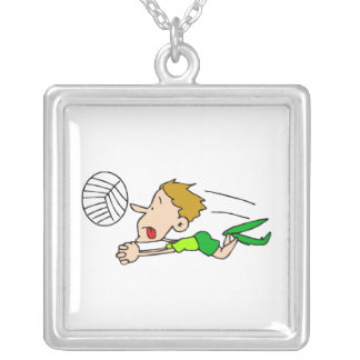 Volleyball boy dive square pendant necklace