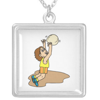 Volleyball Boy Fun Square Pendant Necklace