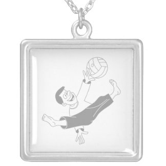 Volleyball boy gray square pendant necklace