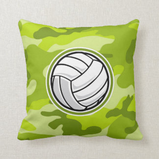 Volleyball; bright green camo, camouflage cushion
