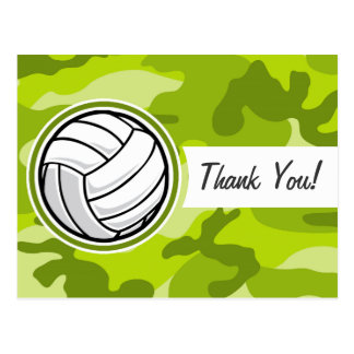 Volleyball; bright green camo, camouflage post cards