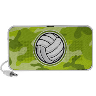 Volleyball bright green camo camouflage mini speakers