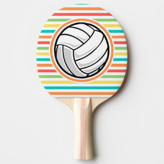 Volleyball; Bright Rainbow Stripes Ping Pong Paddle