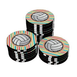 Volleyball; Bright Rainbow Stripes Poker Chip Set