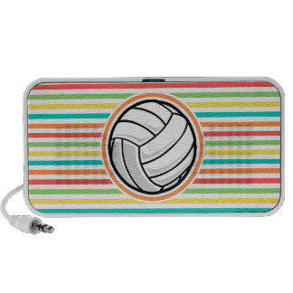Volleyball Bright Rainbow Stripes Travelling Speaker