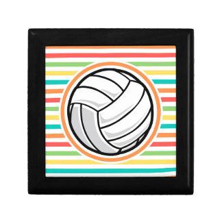 Volleyball Bright Rainbow Stripes Trinket Box