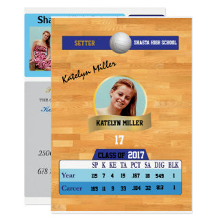 Volleyball Card W/ Stats Grad Invitations - blue