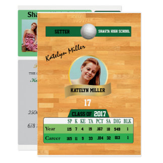 Volleyball Card W/ Stats Grad Invitations - green