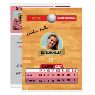 Volleyball Card W/ Stats Grad Invitations - red