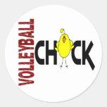Volleyball Chick 1 Round Sticker