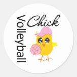 Volleyball Chick Round Sticker