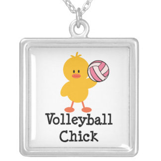 Volleyball Chick Sterling Silver Necklace