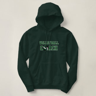 Volleyball Coach - Dark Green, White and Black Hoodie